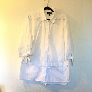 Lane Bryant cotton blend button down career blouse